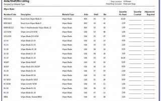 Parts Aisle Shelf Bin Listing