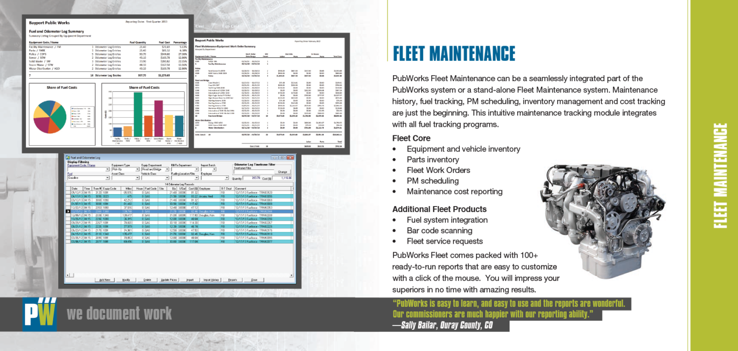 brochure for public works software product information