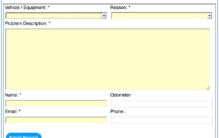 Online Fleet Maintenance Service Request Web form